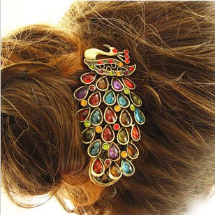 Min.order is $10 (mix order)Authentic Korean Crystal hairpin headdress retro peacock