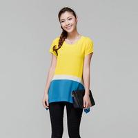 Plus size clothing l5065 - fashion plus size fresh color block irregular chiffon shirt