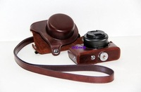Dark Brown Leather Case Bag For Canon EOS M Camera With 22mm Lens  + Free shipping