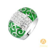 [Arinna Jewelry] Green Crystal 18K Gold Plated Ring Jewelry for women Full Sizes(6 7 8 9) fashion rings J3811