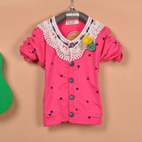 2013 children's spring clothing female child dot lace flower decoration button cardigan children's clothing