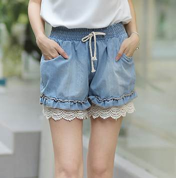 Vivi lace decoration elastic waist denim shorts skorts real pictures with 6068 model(China (Mainland))