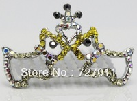 Free Shipping (24pcs/lot) alloy hair accessories Tiara two puppies style paved with CZ Stones plated with platinum four  colors
