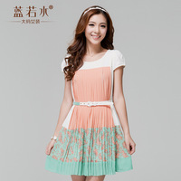 Plus size clothing 2013 summer sweet violin color block pleated one-piece dress