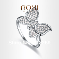 New ! ROXI brand Fashion Butterfly Ring White Gold Plated Micro-Inserted with AAA zircon crystal,fashion Jewelry,101005744