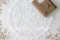 "Handmade seldom honorable plain design pure color 100% cotton hollow flower pattern round table mat,doily 14""RD 5151W"