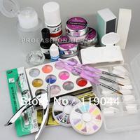 Free shipping 3D Nail Art Decoration Acrylic Powder Kit Liquid Tips Brushes Tweezers Primer Set NA868