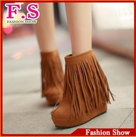 Hot High Hidden Wedge Tassel Ankle Snow Boots For Women  Casual Dress Sexy Warm Fur Lining Womens Shoes Winter WB149 Free Ship