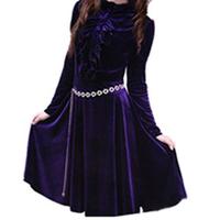 XXXXXL Plus size clothing spring long-sleeve dress plus size british   velvet full dress