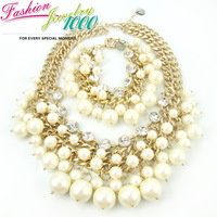 Free Shipping Luxury Pearl and Crystal Chain Necklace Bracelet Jewelry Sets For Women Chunky Statement  Fashion Jewelry