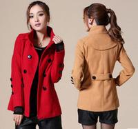Women's pea coat plus size woolen coat solid color outerwear winter warm coat M-XXL