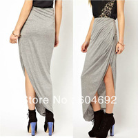 DropShipping Sexy Womens Open Side Split Skirt Summer Solid Cotton Irregular Long Maxi Skirt HR693 FreeShipping