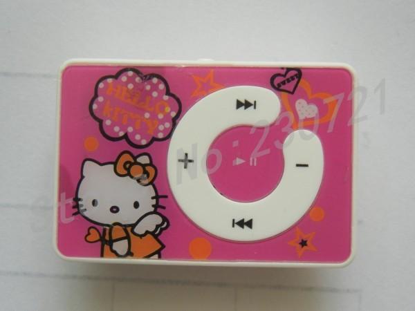 50pcs Hello kitty cartoon mp3 player with portable clip no memory support memory card max 8GB 4 colors DHL free shipping(China (Mainland))