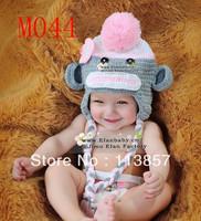 10pcs/lot Free Shipping mixed style handmade sock monkey hats for baby girl boy beanies crochet earflap baby hat cap