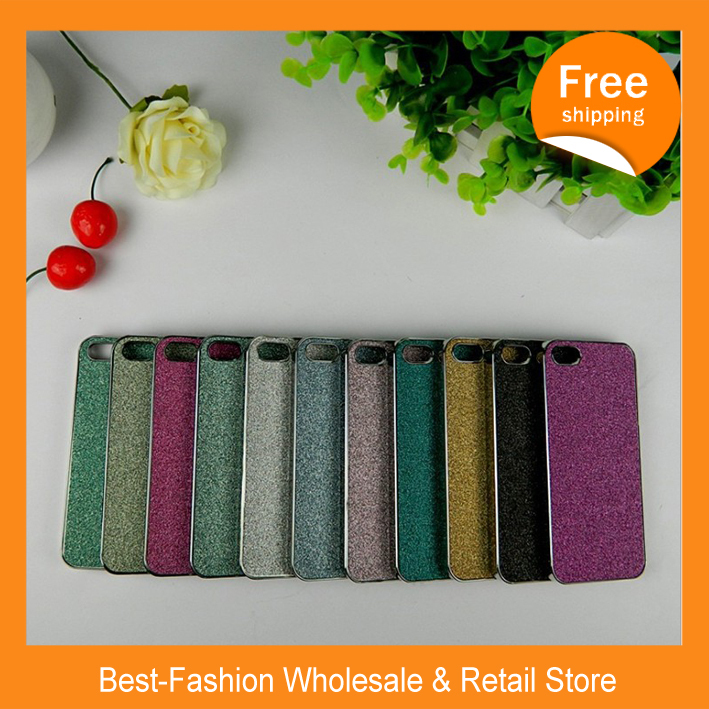 Free shipping Metal plating shell for iphone5 /Frosted flash powder, mobile phone protection shell for iphone(China (Mainland))