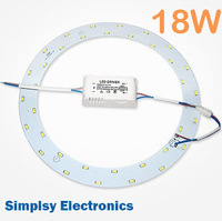 DIY 2pcs/lot 56301800lm18W high power magnetic ring LED ceiling light plate with driver replace 40W traditional 2D tube ring pcb
