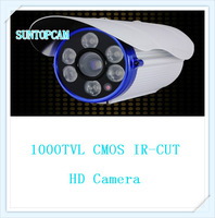 Free shipping 1000tvl HD cmos IR-CUT waterproof camera 6pcs array LED with 8mm lens 60m IR-distance