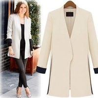 2013 spring and autumn collarless color medium-long block decoration suit trench outerwear beige black