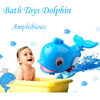 Free shipping Spray water Dolphin Wonderful Animals Amphibious Function Baby Bath Toys Bathroom Toys Infant Wind-up Toy