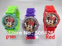 Free Shipping 5pcs,New 7Colors,Hot Sales Brand minnie mouse watch  Dial Silicone Diamond Crystal Lady Jelly Watch