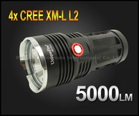 Super Bright UniqueFire UF-V10-4 5000 Lumen 4xCREE XM-L L2 LED Flashlight Lamp High Power Torch For Camping KING-black