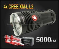 10pcUniqueFire UF-V10-4 5000 Lumen 4xCREE XM-L L2 LED Flashlight Lamp High Power Torch For Camping KING with battery and charger