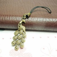 10pcs/lot,cute bronze peacock women retro mobil phone chain,fashion jewelry,free shipping