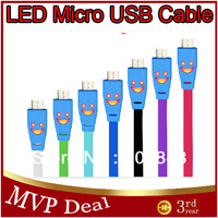 Free Shipping 10pcs Flat Noodle Colorful LED Light Smile Face Micro USB Data Sync Charger Cable For Samsung HTC Android Phones