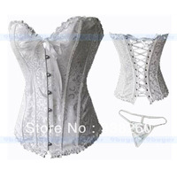 12pcs SEXY Corset White Overbust Bustier Lace up Corset lingerie G-string Size S M L X free shipping