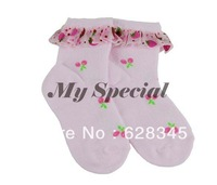 10 piece/lot 2013 New Cute Baby Girl's Sweet Lace Edge Soft Printing Ankle High socks kids 2-5 years 2 Colors 13623