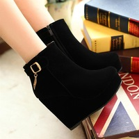 2013 spring and autumn nubuck leather martin boots single female spring and autumn boots wedge boots women's shoes