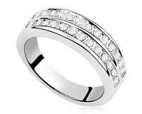 2 Option Crystal  Plain Design Ring White Gold Plated Jewelry Unisex Men Women Engagement Bride Ring