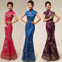 Cheongsam fashion design to marry long cheongsam fish tail cheongsam vintage lace paillette cheongsam