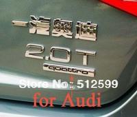 1pc Drop ship Alloy Quattro 3D Car Logo Back Badge Emblem Sticker Adhesive for Audi A4L A5 A6L the German original car stickers