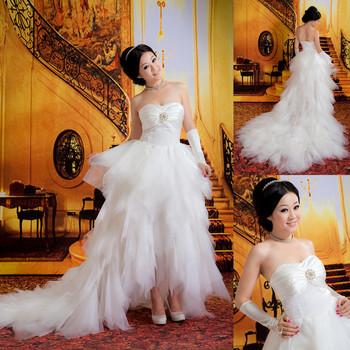 2013 wedding tube top princess wedding dress formal dress low-high wedding
