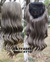 Free shipping    synthetic hair extension 3/4 Full Long Wavy Curly Half Wigs Beautiful hairpiece  Color 2/30# 1pc  GS-TFA888