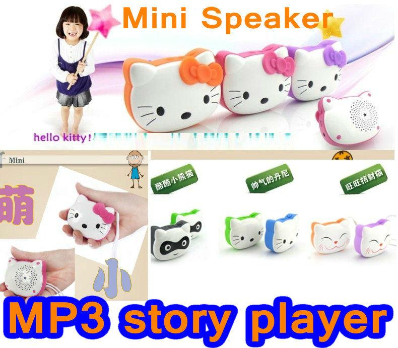 Portable Speaker Hello Kitty cartoon mini mp3 player FM Radio Micro SD Card Best Gift For Kids [freeshipping](China (Mainland))