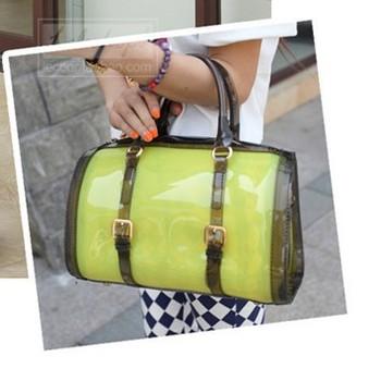 2013 New Arrival women handbags Korea  jelly candy color bag crystal transparent bag beach shoulder designer bag   free shipping