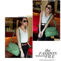 New Popular Multifunction Retro Messenger of Candy Color Faux Leather Bags Totes