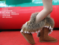 2013 new female boots snow boots rabbit hair fox fur boots shoes hang pendant type lady