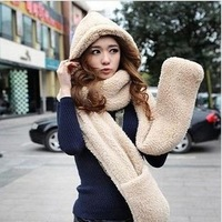 Fast arrived New autumn winter thickening plush cashmere hooded warm women scarf scarves hats gloves one couple