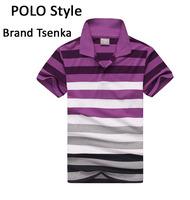 Summer best Men's cotton t-shirt  fashion comfortable t-shirt turn-down collar brand Tsenka for men's clothes