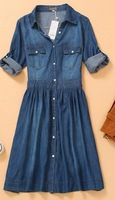 Free shipping fashion women's denim dress long-sleeve ladies casual spring and autumn wear dress