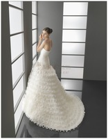New arrival tube top crumple smallerone slim waist and fish tail wedding dress 2013 train princess