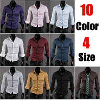 Autumn outfit Hot Offers / Simple solid color / joker men's casual long-sleeved cotton shirt 10 colors size M L XL XXL