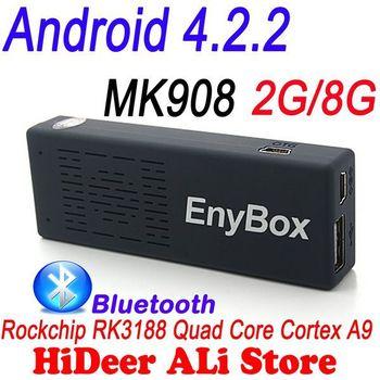Branded mk908 ENYBOX quad core rk3188 Quad core tv stick Android 4.2.2 Mini PC TV Box 2G/8G Bluetooth 4.0 tv dongle