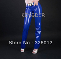 Sexy blue rubber leggings latex trousers for women