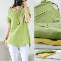 Fluid women's shirt plus size linen short-sleeve top female short-sleeve shirt linen