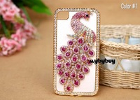 New Fashion Black Luxury Bling Peacock Synthetic Leather Rhinestone Diamond Crystal Back Skin Case Cover for iPhone 4 4S