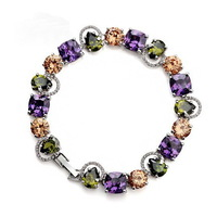 18K White Gold Plated(Niceter N8075 )Swiss Cubic Zircon Diamond multicolor bracelet free shipping jewelry fashion brand